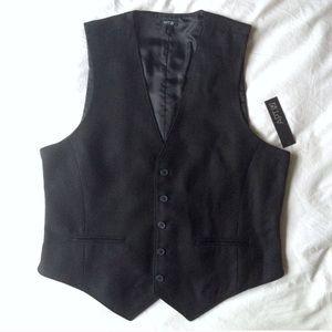 NWT Men's Apt. 9 Black Herringbone Vest Size L